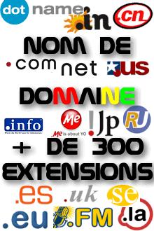 nom de domaine + de 300 extensions
